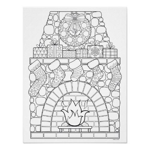 Christmas Fireplace Coloring Poster Zazzle Com In 2021 Christmas Coloring Books Christmas Coloring Sheets Printable Christmas Coloring Pages