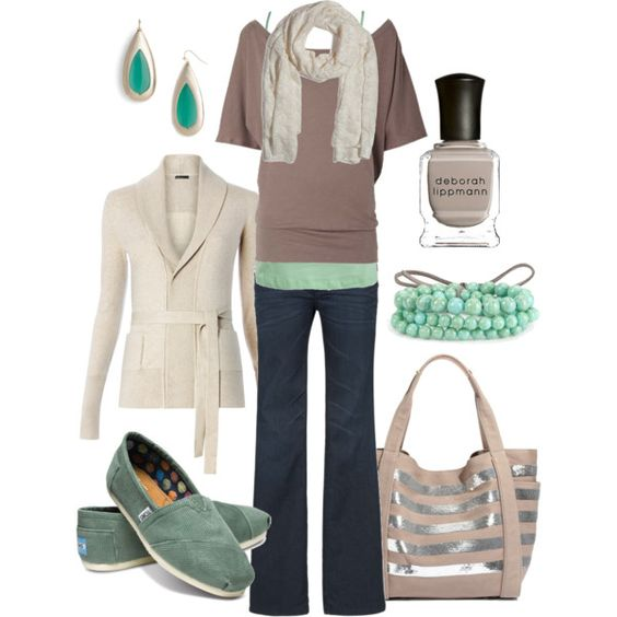 Love this but would probably do without the scarf. Tan & Teal, created by htotheb on Polyvore