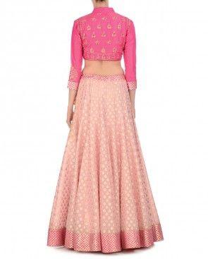 Hot Pink and Salmon Pink Embellished Lengha Set