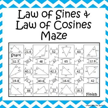 This self-checking maze has 11 problems involving the law of sines and the law of cosines. Students will be required to use both to solve for angles and sides of triangles. Answer key is included for easy checking.
