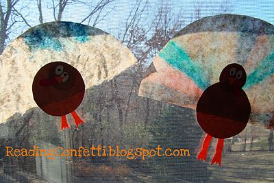 Reading Confetti: Window Turkeys