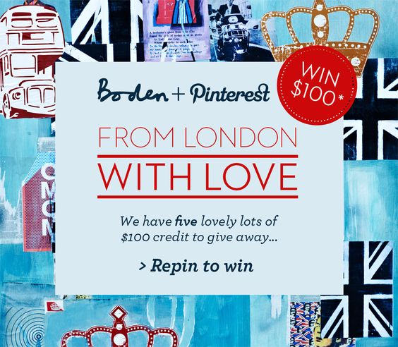 Create a board brimming with London style, from iconic London landmarks to your sartorial city wardrobe wishlist. 1: Create your board titled 'From London with Love' including a description detailing what you love about London style. 2: Pin 10-30 pins (including the contest pin with a caption & #boden & #fromlondonwithlove 5 pins should be from http://www.bodenusa.com 3: Confirm by posting a link as a comment. Terms: www.Bodenusa.com/Pinterestandcs