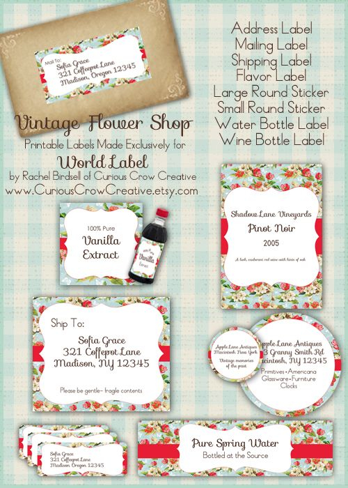 Vintage flower shop labels in FREE printable editable PDF - free wine bottle label templates