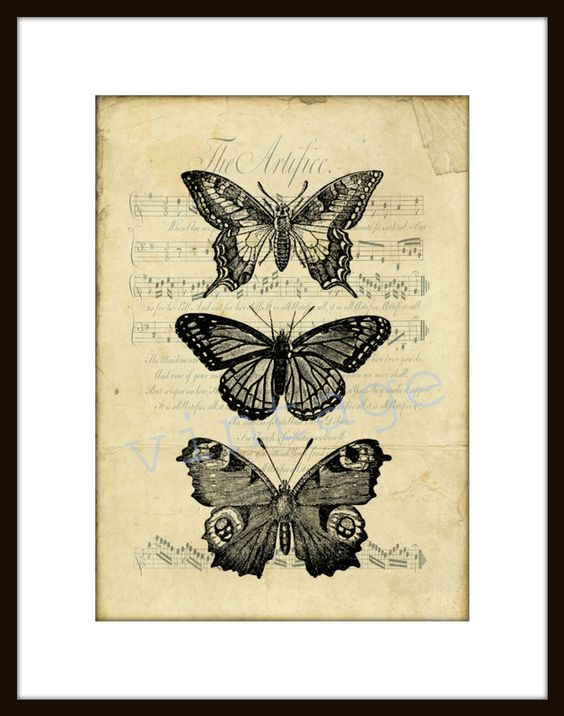 Digitaldruck - SCHMETTERLING r47 Digiprint Vintage   von VintagePrints via DaWanda.com