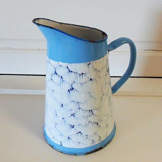 Vintage French Blue and White Enamelware Jug. £28.00, via Etsy.