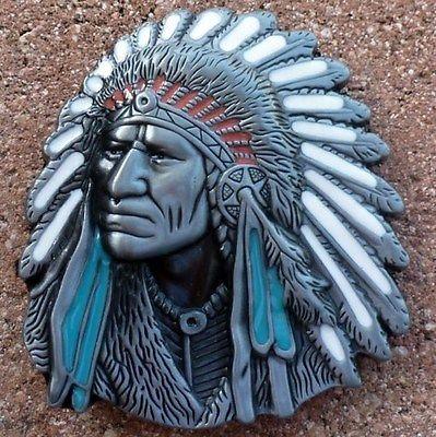 Old West Indian Warrior Chief belt buckle biker motorcycle Native American men
