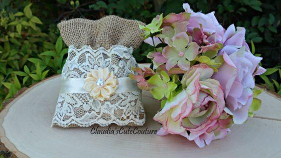 Tarro de masón de arpillera boda tarros de por ClaudiasCuteCouture