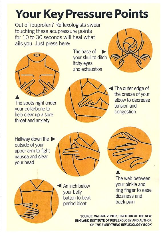Key Pressure Points : also deeply rub the middle of your left wrist for nausea!!