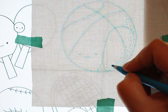tracing embroidery on screen by wildolive, via Flickr