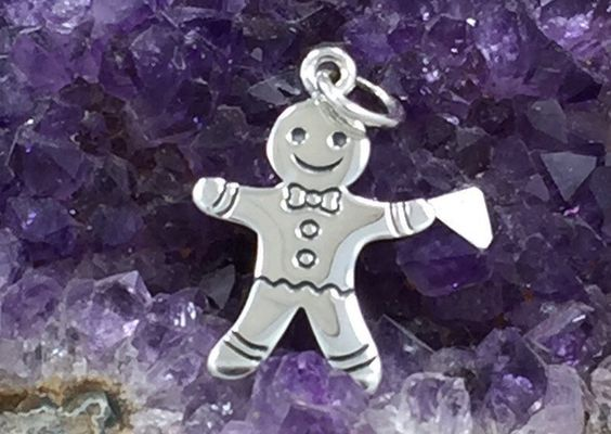 Gingerbread Man Charm, Sterling Silver Gingerbread Man Charm, Winter Charm, Christmas Charm, Christmas Cookie, Holiday Charm