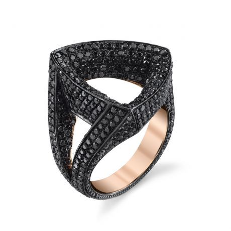 18k Rose Gold ring with Black Rhodium and Black Diamonds. Please inquire about other sizes.