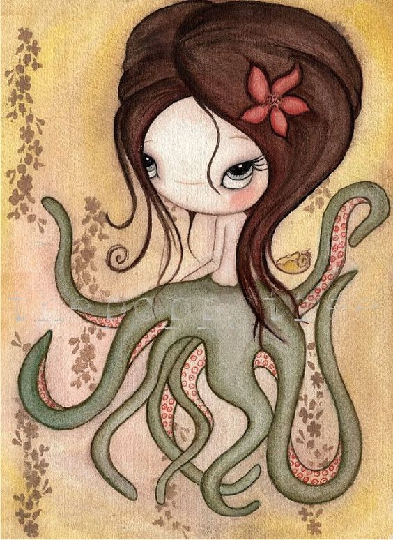 Octopus Girl LARGE PRINT 11 x 14 by thepoppytree on Etsy, $33.00