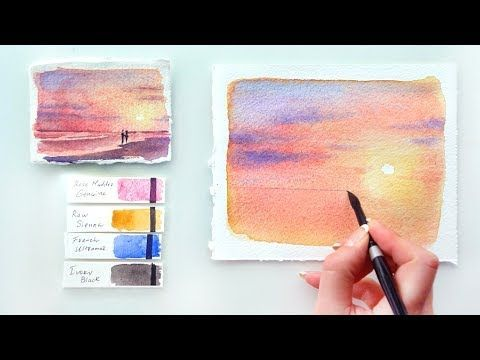 Pink Sunset Watercolor Tutorial Youtube Video Tutorial For