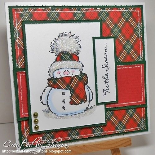 Snowman, like the scarf and background matching.