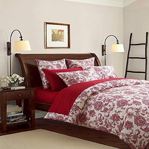 Softta Luxury Red Flower Pattern On White Fresh Floral Bedding Design California King Size 3pcs 1 Duvet Cover Duvet Cover Sets Bedding Sets Rustic Bedding Sets