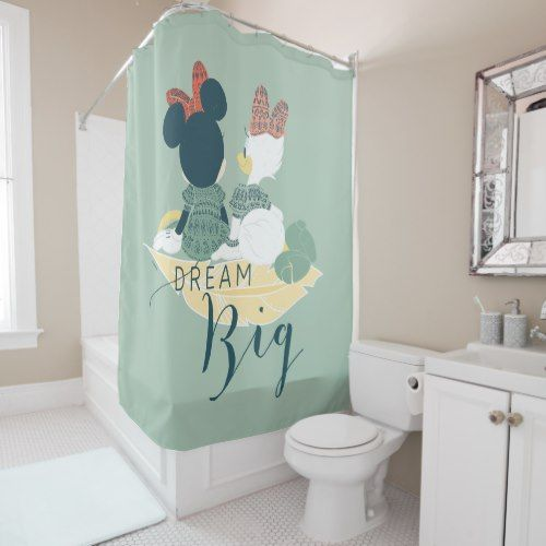 Minnie Mouse Daisy Duck Dream Big Shower Curtain Zazzle Com Big Shower Personalized Shower Curtain Watercolor Shower Curtain