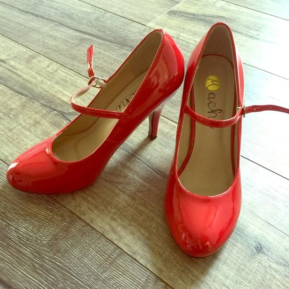"""Red maryjane heels Red maryjane heels. 4"""" heel.  Worn once. Great to wear with retro outfit.  Minor scuffs on both heels (see photo).  Size 7. ModCloth Shoes Heels"""