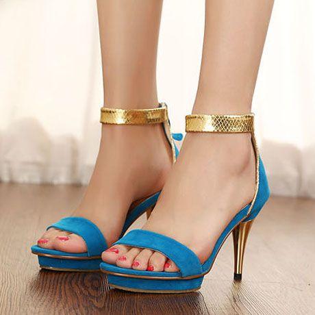 Blue Suede Metallic Ankle Strap Sandals
