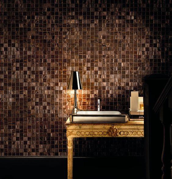Copper colour bisazza glass mosaic tiles bathroom bliss for Bisazza bathroom ideas