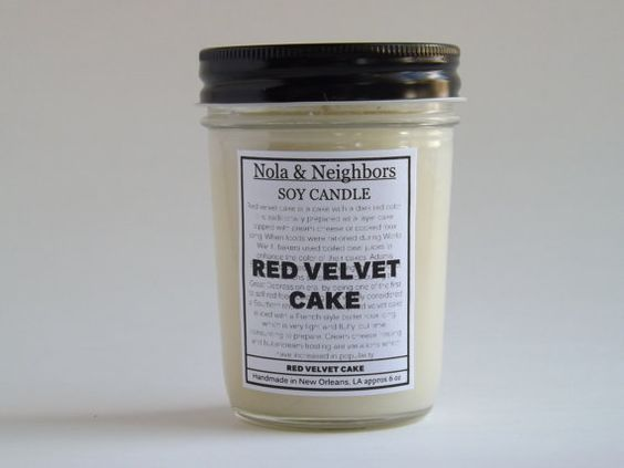 Red Velvet Cake candle 6 oz soy candle Red by NolaAndNeighbors