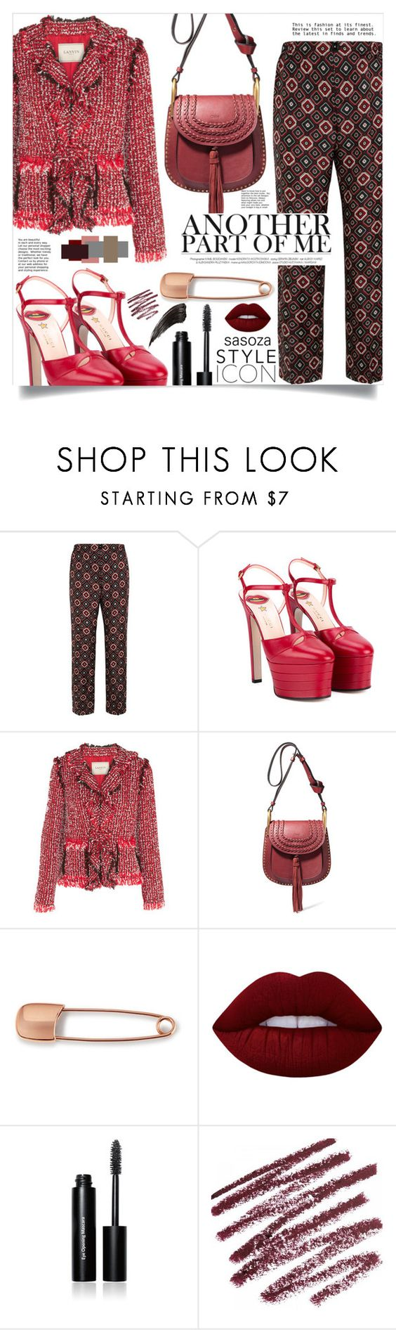 """another part of me !! by Sasoza"" by sasooza ❤ liked on Polyvore featuring F.R.S. For Restless Sleepers, Gucci, Lanvin, Chloé, Mara Hotung, Lime Crime and Bobbi Brown Cosmetics"