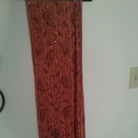 Orange & Brown paisley scarf Never worn, basically brand new! Bonus: it has sparkles! Accessories Scarves & Wraps