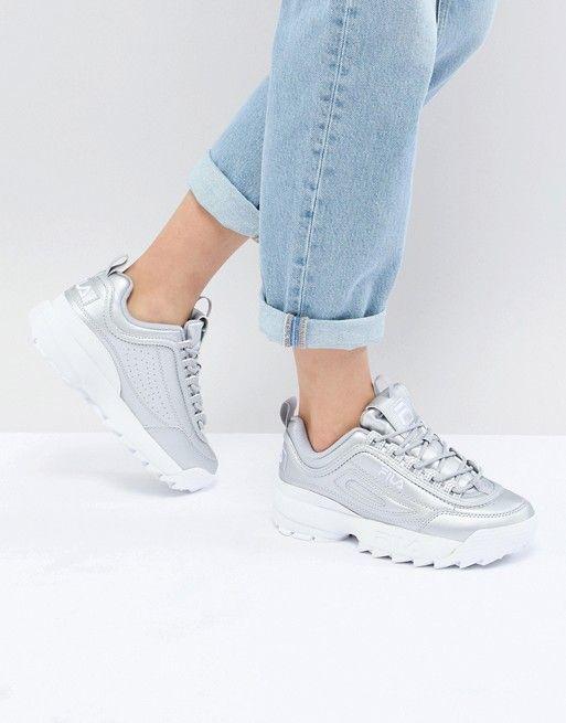 Fila | Fila Disruptor Sneakers In Silver | ASOS in 2019 ...