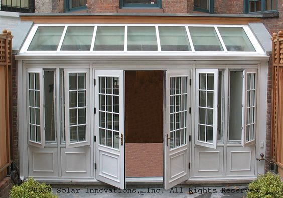 French sunroom with recycled windows with a complete for Conservatory doors exterior