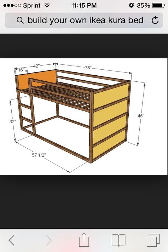 dimensions of the ikea kura bed lit kura pinterest. Black Bedroom Furniture Sets. Home Design Ideas