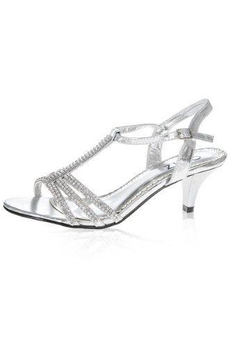 Shoes: Silver Diamante Low Heel Sandals - [Buy New: £34.99 - UK ...
