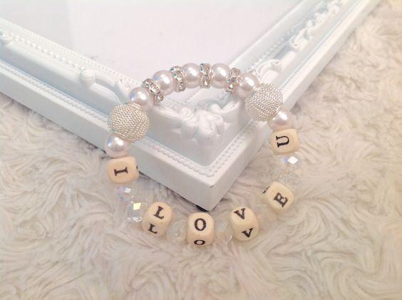 Personalized silver beaded bracelet, Personalized jewellery, Beaded name bracelet, Personalized bangle, Beaded pearl jewellery I love u by AwesomeBabiesShop on Etsy
