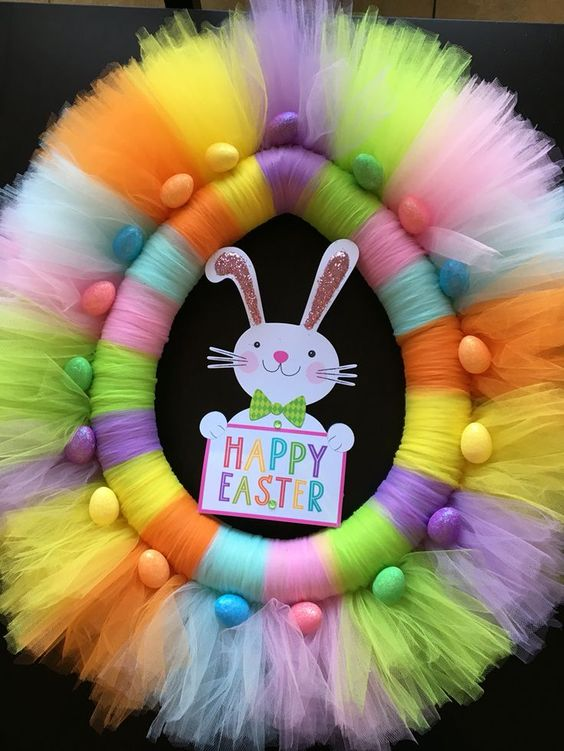 Easter wreath Pool noodle & tulle: