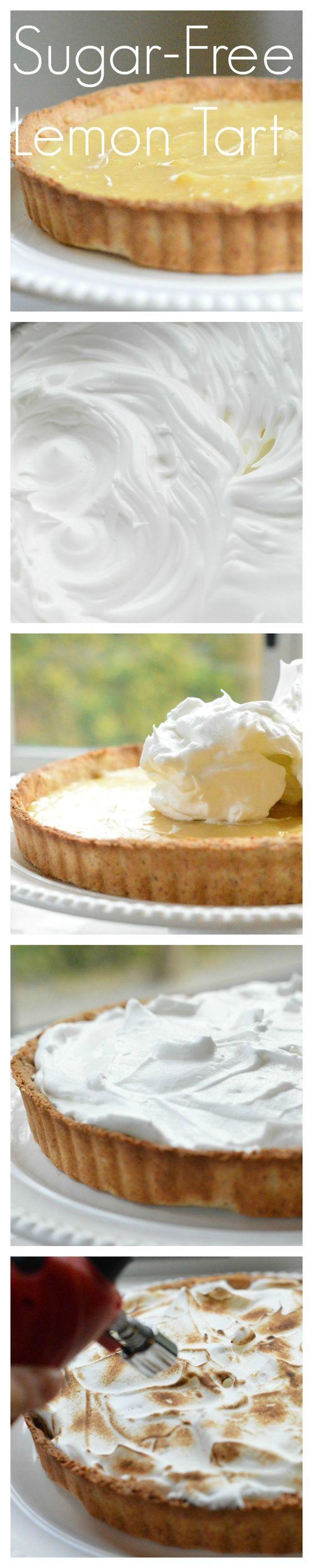 Sugar Free Lemon Tart by www.sweetashoney.co #lowcarbcrust #glutenfreepie…