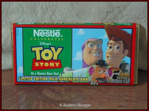 TOY STORY, The Disney Movie 1995 Nestle Promotional Release Candy Bar Unopened  P733  http://ajunkeeshoppe.blogspot.com/