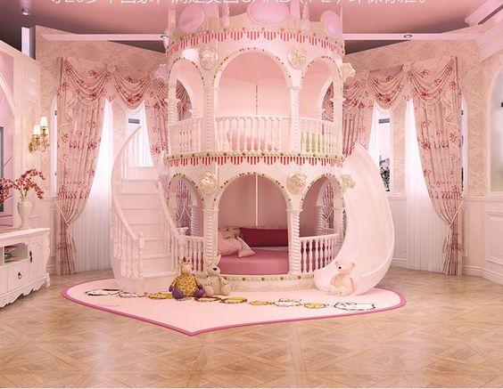 Bedroom Princess Girl Slide Children Bed , Lovely Single Pink Castle Bed Girls Furniture-in Bedroom Sets from Furniture on Aliexpress.com | Alibaba Group