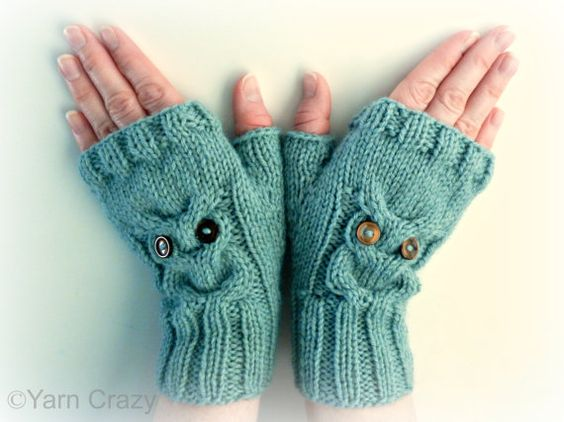 Owl Mittens Knitting Pattern : KNITTING PATTERN, Owl Cable Knit Fingerless Mittens, PDF Digital File, Writte...