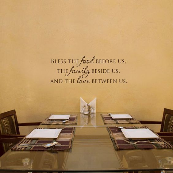 Bless the food inspirational dining room vinyl wall word for Dining room vinyl wall art