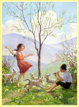 Margaret Tarrant - Dance of the Lambkins (35 pieces - mini Jigidi jigsaw puzzle)