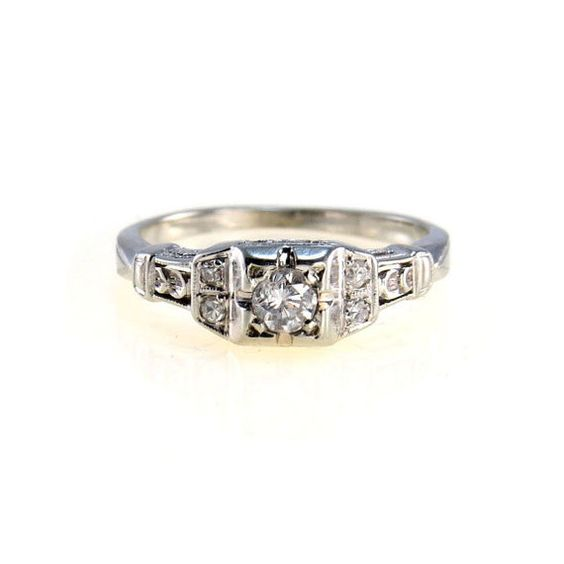 Art Deco Engagement Ring Antique Edwardian 18k White by BijouxBela