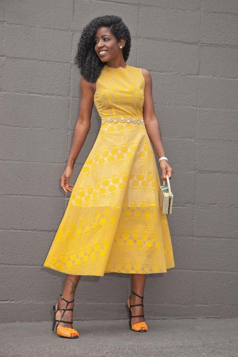 What to wear to a summer wedding: a bright midi dress for a black-tie wedding, inspired by blogger Style Pantry