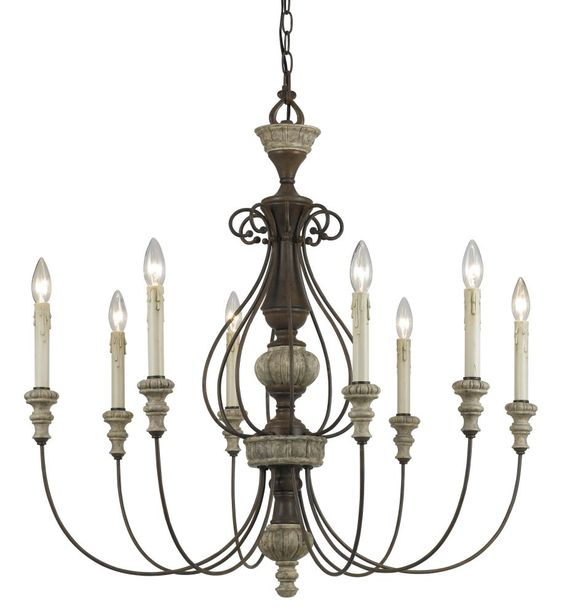 Cal Lighting FX-3535/8 8 Light Williams Metal Chandelier In Rust/Dapple Gray is made by the brand Cal Lighting. It has a part number of FX-3535/8.