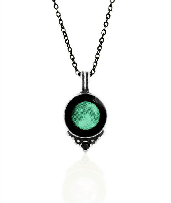 Swarovski Necklace / Personalized, Glow-in-the-dark Pendant / Moonglow Jewelry
