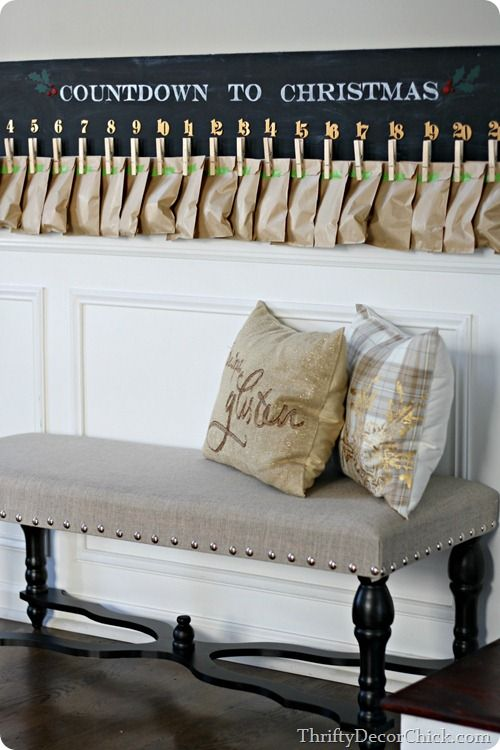 Free DIY tutorial to make your own Pottery Barn style advent calendar at a fraction of the price. Blogger @thriftydecor made hers with chalkboard paint. Great Christmas craft or even gift idea.