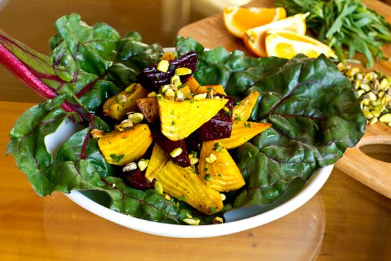 Warm Golden & Red Beet Salad With Fresh Orange Tarragon Vinaigrette And Pistachios by thecozyapron #Salad #Beets #thecozyapron