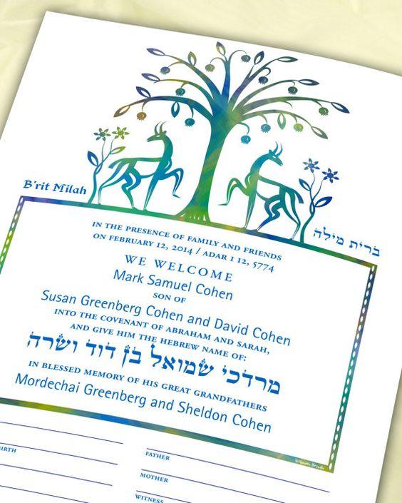 B'rit Milah Certificate Biblical Animals and Flowers