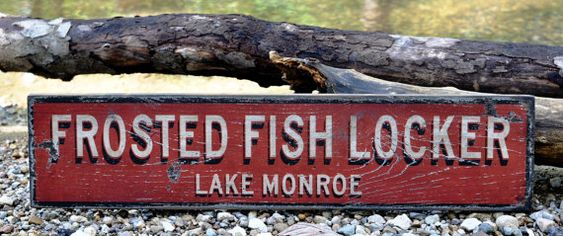 Personalized Frosted Fish Locker Kitchen Lake House Sign - Rustic Hand Made Vintage Wooden Sign WWS000286