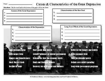 Causes and Characteristics of the Great Depression Worksheet ...