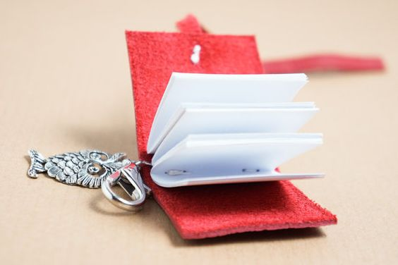 Red leather journal keyring book with owl by NightOwlBookBinding