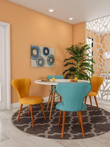 Decoração da sala de jantar para apartamento com mesa redonda branca + cadeiras em azul turquesa e amarelo + quadro decorativo; Móveis coloridos #ad #decoração #homedecor #decor #cozinha #saladejantar #mesa #quadros