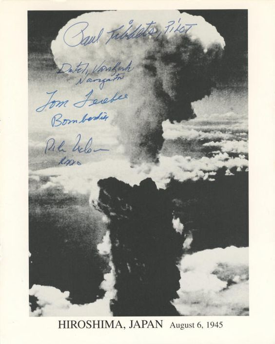 "WEIRD. An 8"" x 10"" black-and-white photograph of the mushroom cloud from the dropping of the atomic bomb on Hiroshima, Japan, boldly signed by four Enola Gay crew members, Paul Tibbets, Pilot; Dutch Van Kirk / Navigator; Tom Ferebee / Bombadier; and Dick Nelson / Radio."